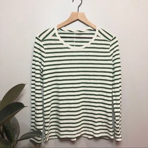Madewell green stripe long sleeve top size small